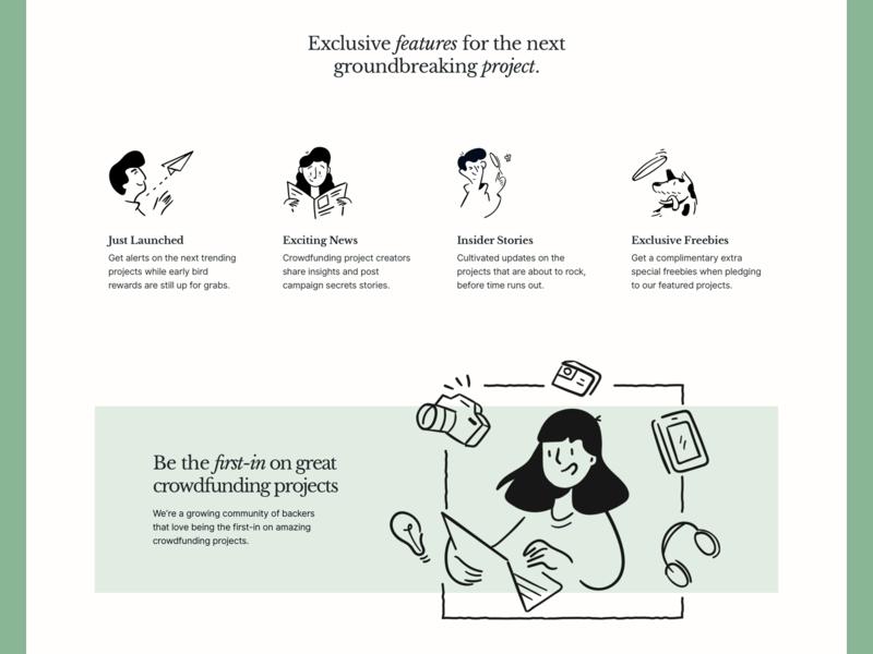 Backer News - Features inter ui libre baskerville typography design green crowdfunding interface illustration desktop ui significa