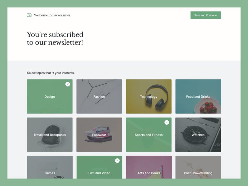 Backer News - Subscription libre baskerville inter ui newsletter significa design cards green crowdfunding interface desktop ui