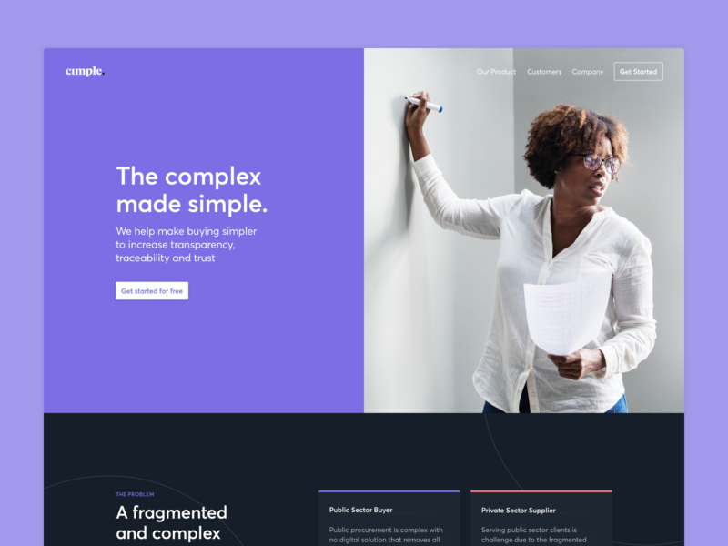 Cimple - Homepage landing page features interface typography ux significa ui averta purple desktop