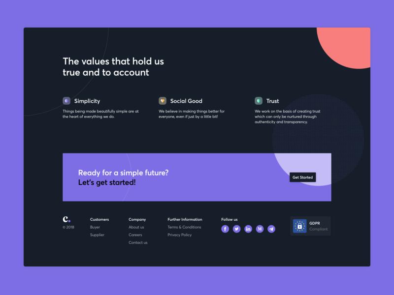 Cimple - Values footer icons purple averta design ux interface ui desktop significa