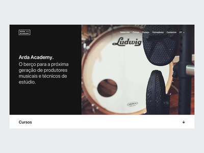 Arda — Academy - Homepage ui ux interface minimal grid music academy black form contact interaction animation web website white clean map icon typography photography