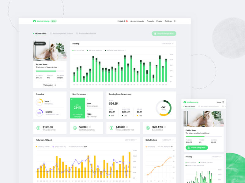 Backercamp - Webapp green crowdfunding charts dashboard interface ux desktop ui