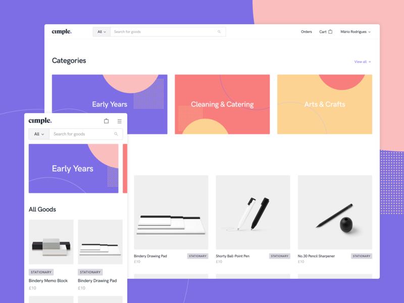 Cimple - Marketplace store shop cards tag ecommerce typography design interface ux ui mobile desktop