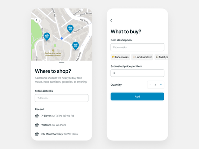Personal shopper delivery clean ui interface ux app flat minimal mobile logistics outbreak delivery coronavirus shopper grocery