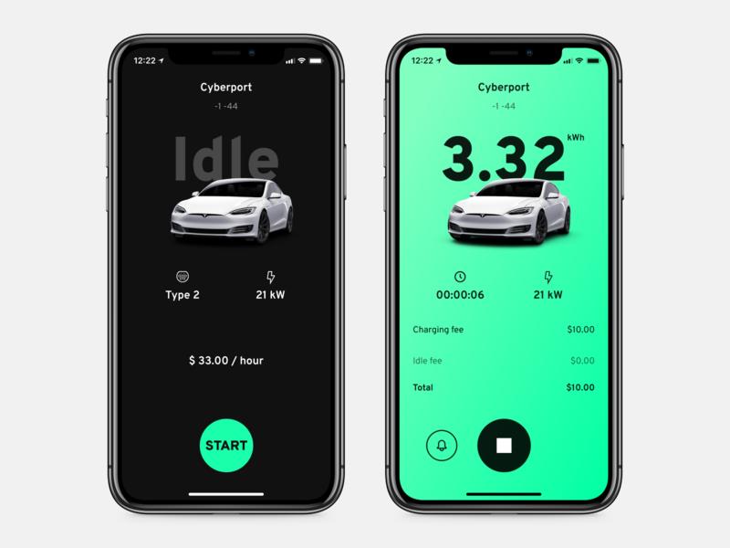 EV charging app for oneCharge transport car tesla vehicle electric charge ev minimal mobile flat app clean interface ux ui