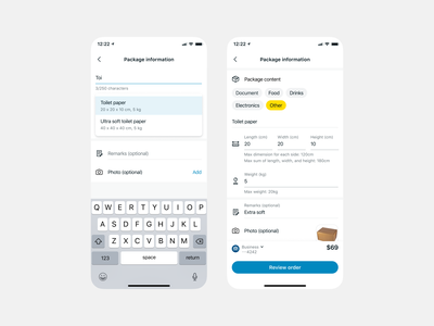 Delivery package info autofill ui ux interface clean design app mobile flat minimal redesign ecommerce delivery logistics package size weight input feilds reuse