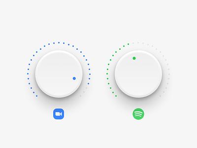 wfh volume control knobs audio dial sound music control panel zoom spotify wfh control volume knob web app minimal clean interface ux ui