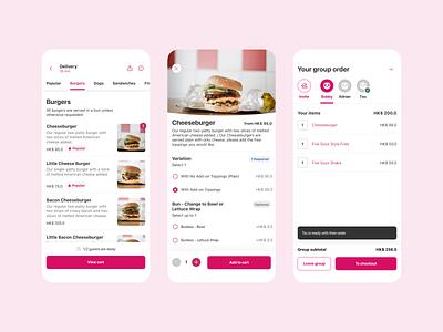 Food delivery group order takeaway burger cheems group order delivery food app flat clean interface ux ui