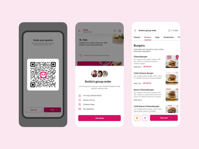 Food delivery group order room social people qr invite add host guests eat order group delivery food mobile app interface ux ui
