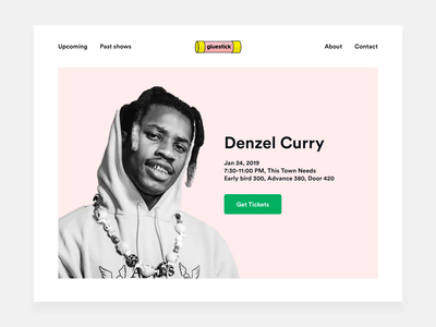 Music show organizer landing page show concert concept event music pink color minimal clean flat gif interface transitions motion animation website web ux ui design