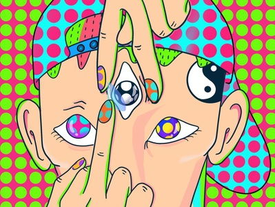 Third eye oddbodies colorful art adultcoloring trippy digital illustration mushroom psychedelic