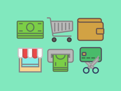 Icons money shopping commerce icons