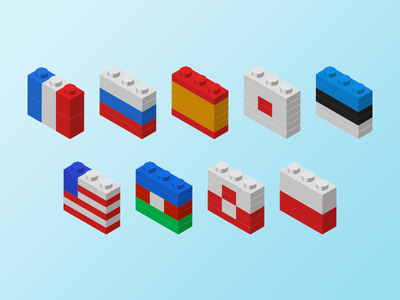Legoflags illustration icon lego flag
