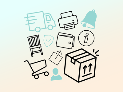 Icons for Gebraucht.de app shopping illustration graphic icons