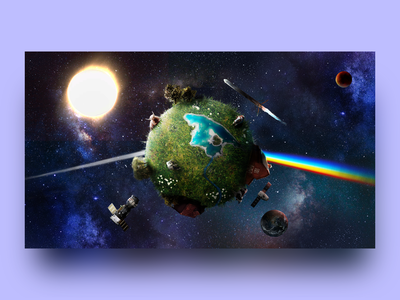 Life on the dark side of the moon photoshop pink floyd collage photo manipulation illustration