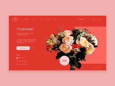 A product card concept for the flower shop romantic red pink roses flower landingpage photoshop concept website web ux ui design