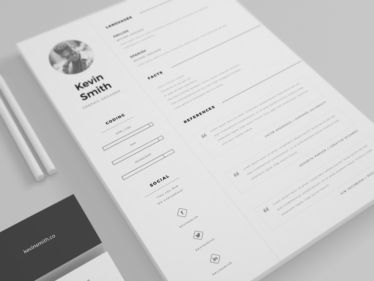 Dribbble Free Resume Template Mockup 01g By Mats Peter Forss