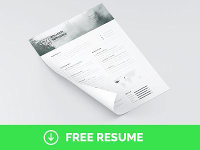 Free Minimal & Clean Resume Template | PS & AI photoshop psd illustrator template text minimal clean inspiration freebie free resume cv