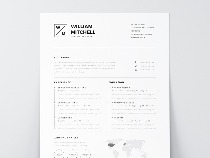 free minimal clean resume template ps ai by mats peter forss
