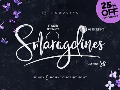 New Font - Smaragdines! 25% Off for October 2016. fonts logo original craft hand handwritten handwriting inspiration creative typeface font