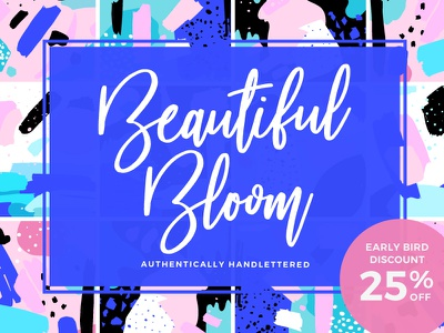 [-25% Intro] Beautiful Bloom Typeface fonts logo original craft hand handwritten handwriting inspiration creative typeface font