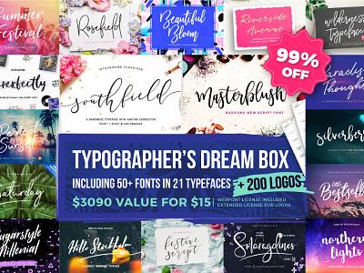 Typographer's Dream Box + 200 Logos (99% OFF) typeface handmade handlettered handlettering typography bundle logos template logo fonts font