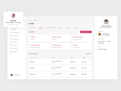 HR — Employee Time Off profile page time off hr software ux ui ui design product design