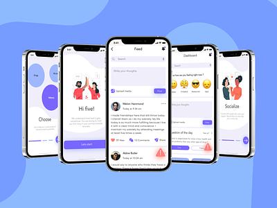 Addiction recovery app user interface app ux ui design