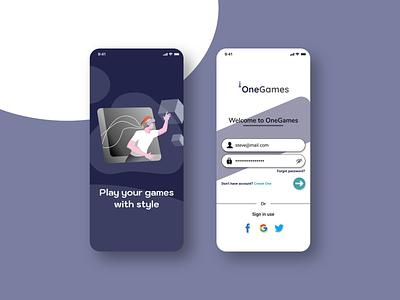 OneGames Login App mobile app login design login ui design ui ios app ios design color palette apple application