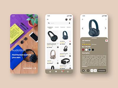 AudioStore App mobile ui mobile app mobile ui design ui speaker earphone headset headphone products market marketplace music audio design app design application app