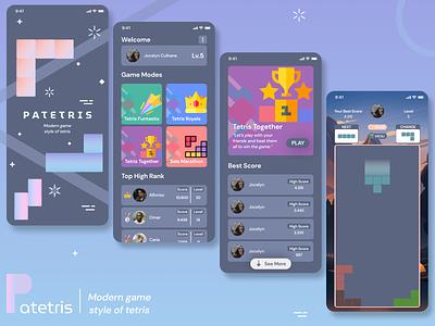 Patetris game ui ui  ux mobile design tetris game design games clean ui app design mobile ui mobile mobile app design application ui design