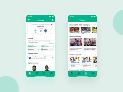 Cricbuzz App Redesign - Light Mode debut mobile trends inspiration cricket mobile uiux app design mobile app mobile ui mobile design