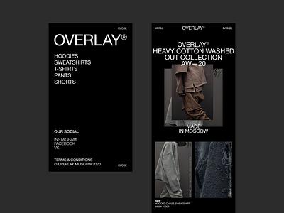 Overlay mobile web ux ui minimal clean clothing fashion branding
