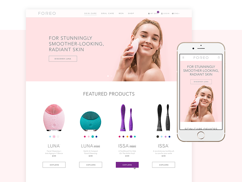 FOREO new website light sweden minimal clean beauty foreo