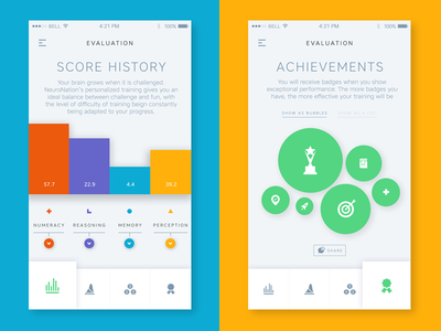NeuroNation app clean stats redesign flat ux ui