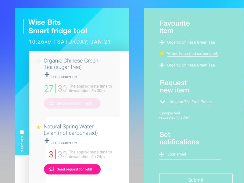 Smart Fridge web interface / mobile scandinavian minimal clean ux ui