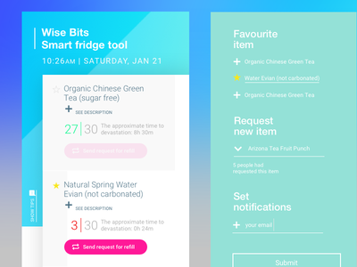 Smart Fridge web interface / mobile