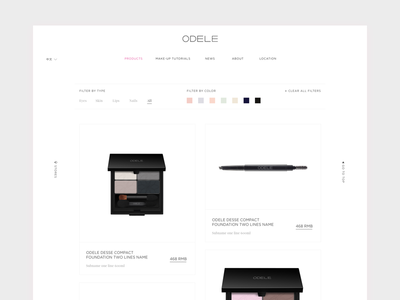 Cosmetic website UI