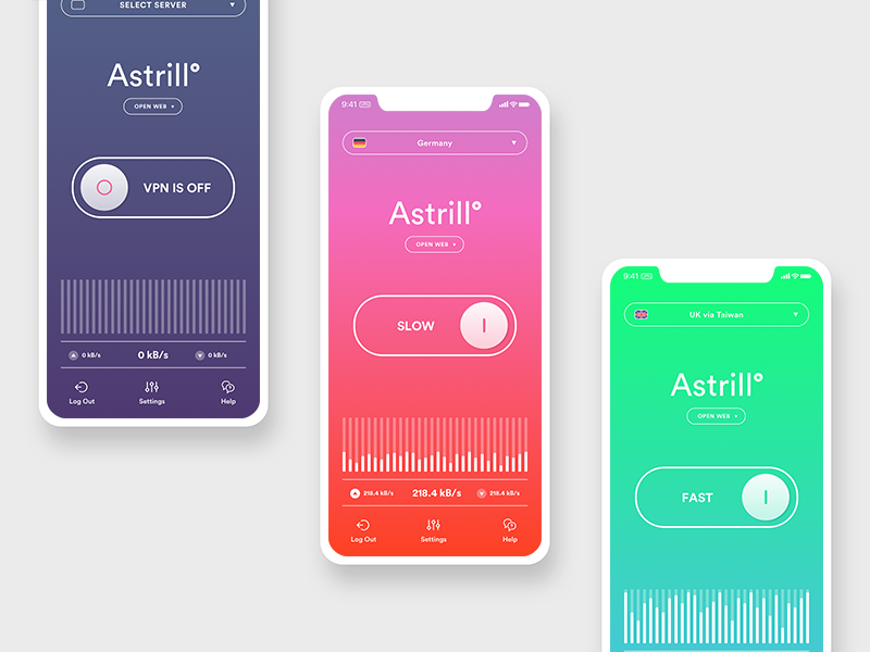 Astrill VPN - redesign ux ui clean minimal vibrant colors gradient vpn redesign iphone x mobile astrill