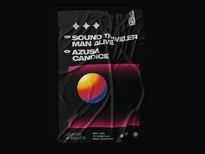 Sound Traveler & Man Alive music electronic 90s clean retro minimal 3d black graphic design poster club