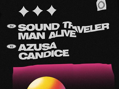 Sound Traveler & Man Alive club poster graphic design black 3d minimal retro clean 90s electronic music
