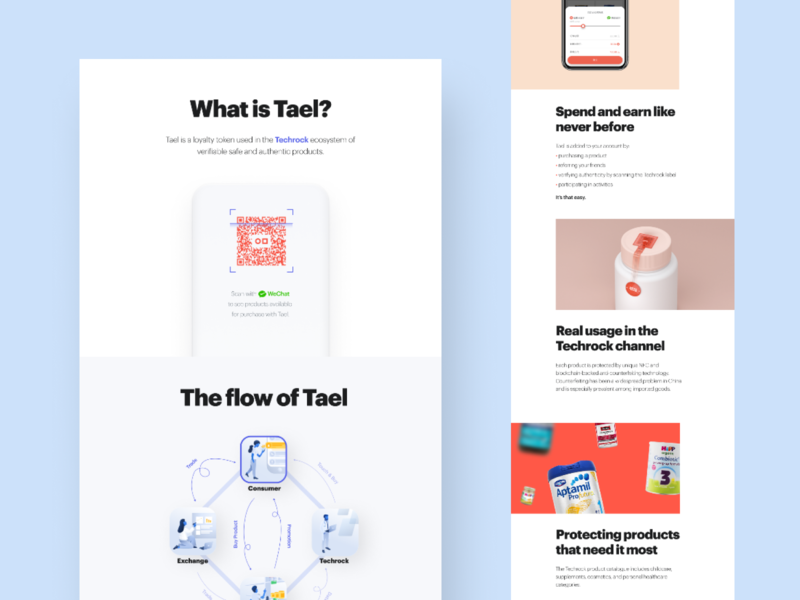 Tael website • the beginning minimal clean illustration ecommerce ecosystem web design blockchain crypto tael web