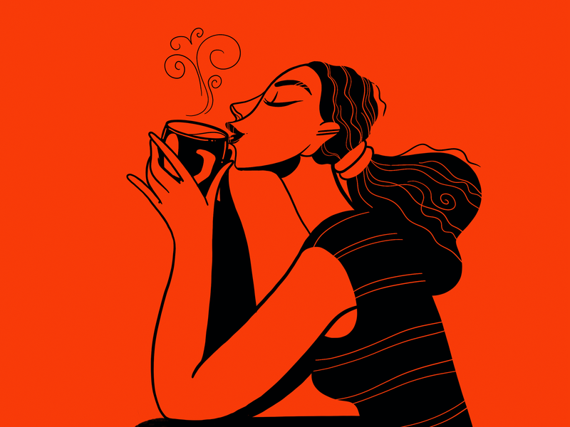 Coffee time cafeart coffeeart illustration woman girl coffee
