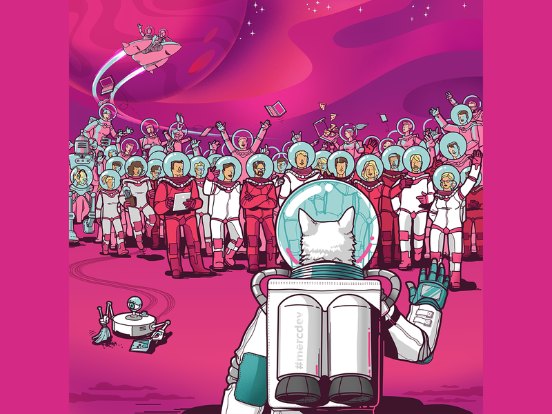 Welcome! card spacecat cat austronaut spaceman welcome welcome shot people illustration character