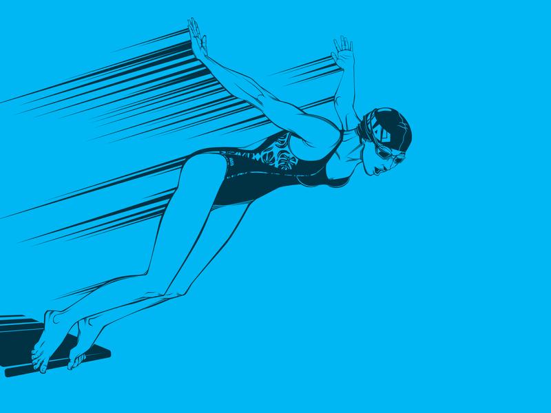 IT olympiad. Swimmer векторнаяиллюстрация вектор спартакиада олимпиада пловец пловчиха swimsuits sport contest sports contest spartakiad illustration people vector art vector swimmer olympiad