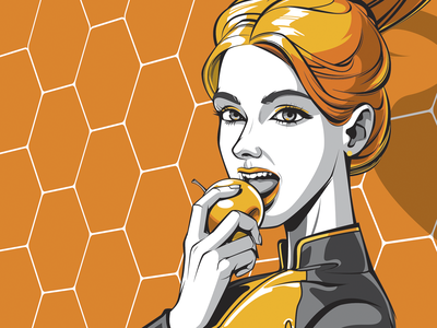 Yellow space blonde blond blondie woman character woman portrait girl illustration youth young face yellow apple woman girl персонаж people vector art vector illustration character