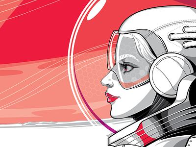 Mercury people vector art character scientist mercury face girl glasses helmet planet space woman illustration vector pioneer cosmonaut astronaut