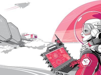 Mercury space future space cosmonaut astronaut mercury people vector art vector illustration character