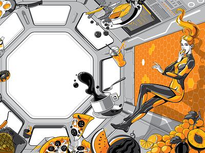 Weightlessness in yellow food kitchens gravity zero gravity weightlessness space mercury people vector art vector illustration