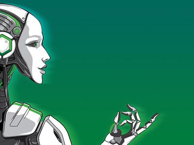 White on green robotics future cyborg bot human android robot people vector art vector illustration character